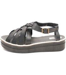 sandalia de cuero negra valentia calzados 305 love