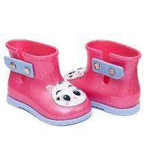 bota galocha pimpolho colorê rosa gatinha com coroa