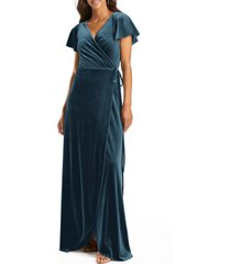 after six flutter sleeve velvet wrap gown, size x-small in dutch blue at nordstrom