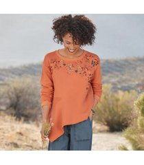 sundance catalog women's clementine fields sweatshirt in coral xs