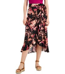 inc international concepts printed ruffled wrap skirt, created for macy's