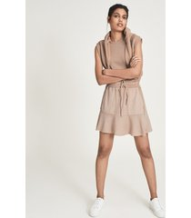 reiss kara - fabric mix mini skirt in camel, womens, size 14