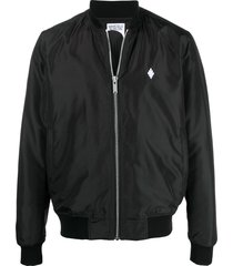 marcelo burlon county of milan embroidered logo bomber jacket - black
