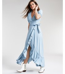 guess violet denim wrap maxi dress