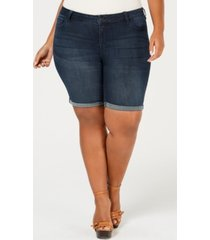 celebrity pink trendy plus size denim bermuda shorts
