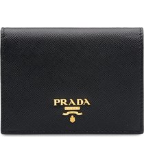 prada logo-plaque folding wallet - black