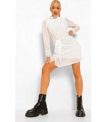 gedrappeerde mini jurk met hoge hals, white