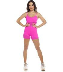 macaquinho fitness sstyle com tela pink
