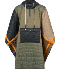 mostly heard rarely seen quilted padded poncho - green