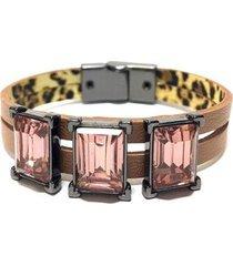 pulseira armazem rr bijoux couro detalhe quadrado feminina - feminino
