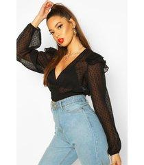 dobby ruffle shoulder wrap shirred blouse, black
