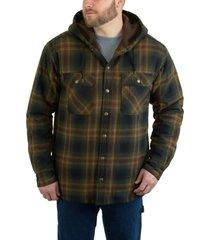 wolverine men's byron hooded shirt jac dark olive plaid, size l