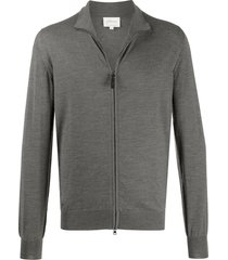 brioni funnel-neck zip-through sweater - grey