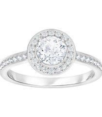 anillo attract light round, blanco, baño de rodio