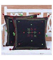 cotton cushion covers, 'charm of midnight' (pair) (india)