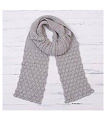 100% alpaca scarf, 'dove feather' (peru)