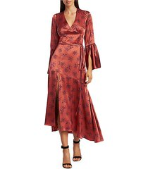 kasha firecracker print asymmetric silk dress