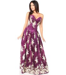 sexy elegant plum floral embroidered steel boned long corset dress