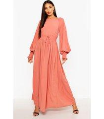 geweven maxi jurk met gesmokte taille en manchetten, rose