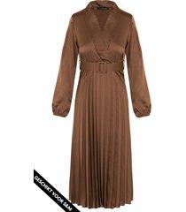 plisse jurk zijde cognac