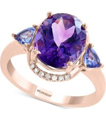 effy multi-gemstone (3-7/8 ct. t.w.): amethyst, tanzanite & diamond accent ring in 14k rose gold
