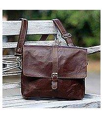 leather messenger bag, 'prawirotaman pass' (indonesia)