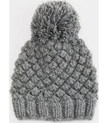 grace popcorn stitch beanie - light gray