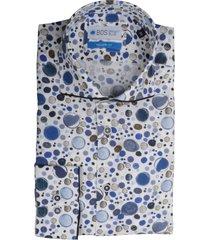bos bright blue overhemd blauw met print bos 5-05/12