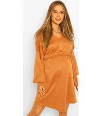 zwangerschaps sweatshirt jurk met ceintuur, kameel