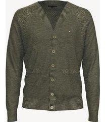 tommy hilfiger men's essential button cardigan deep lichen heather - xxl