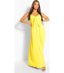 crepe tie front strappy maxi dress, yellow
