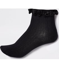 river island womens black velvet cable knit frill ankle socks