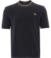 fred perry crew neck piquè t-shirt | black/champ | m7-157