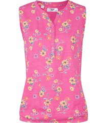 top in jersey a fiori con elastico al fondo (fucsia) - bpc bonprix collection