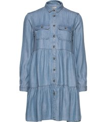 tiered shirt dress korte jurk blauw superdry