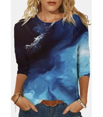 camicetta corta da donna con stampa o-collo a maniche lunghe plus