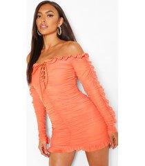petite ruched corset detail mini dress, orange