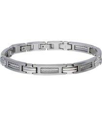 bracciale a maglie in acciaio con filo d'acciaio interno per uomo