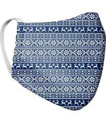 tapabocas mascara para hombre doble capa estampado tela antifluido - azul