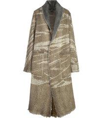 avant toi long shawl lamb effect coat with leaves shadows