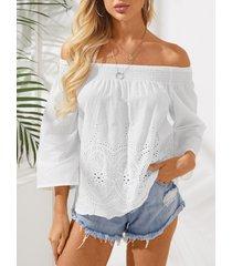 blusa de gasa con hombros descubiertos transparente blanca