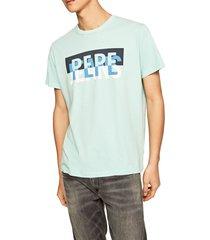 camiseta azul aguamarina-blanco pepe jeans