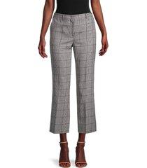 redvalentino women's glen plaid cropped wool pants - grey - size 42 (10)