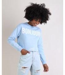 """blusão de moletom felpado feminino """"bonjour"""" azul claro"""