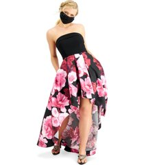 speechless juniors' strapless floral-print high-low dress, created for macy's