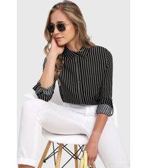 camisa negro-blanco active