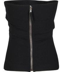 black cotton-viscose blend bustier top