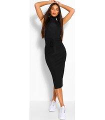 geribde midi-jurk met trekkoord in lange maat, zwart
