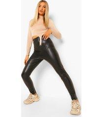 premium nepleren vormende broek met naaddetail, black