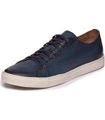 sapatenis masculino em couro azul jeans - mazuque 637070 - kanui
